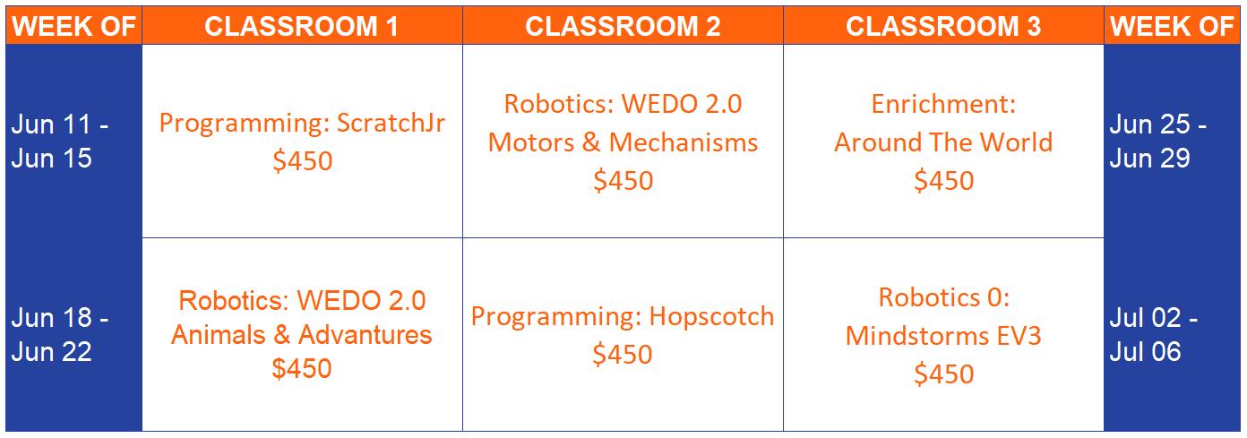 Short Hills Program Calendar